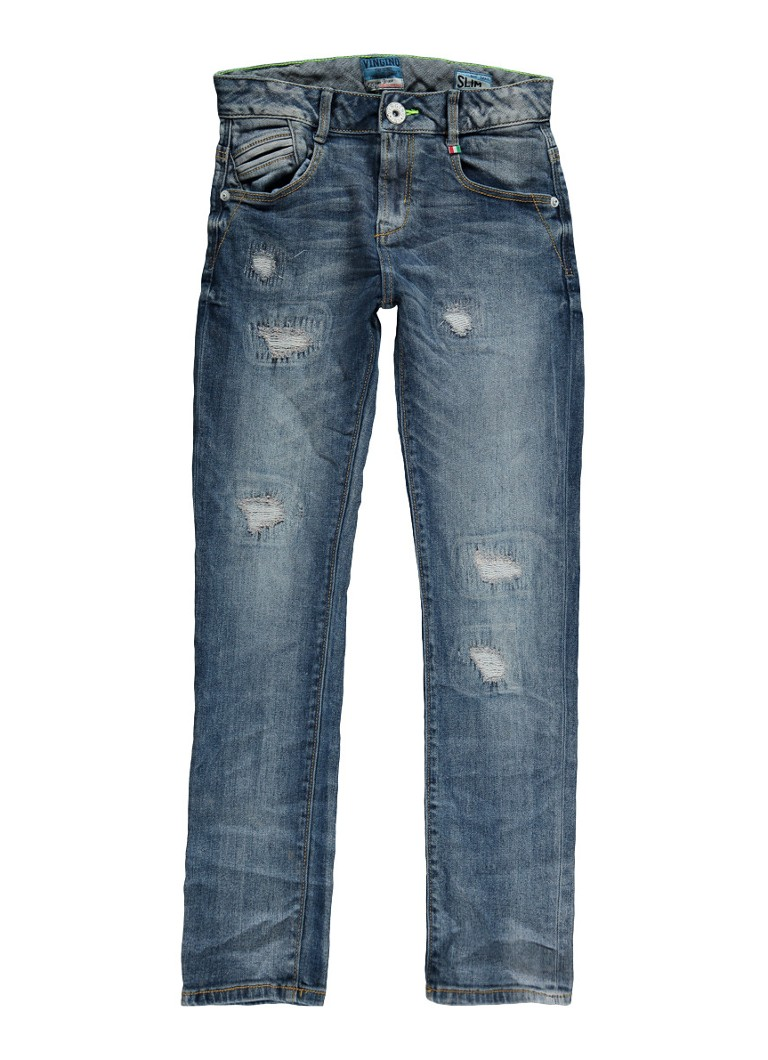 Vingino Daniel slim fit jeans met destroyed details