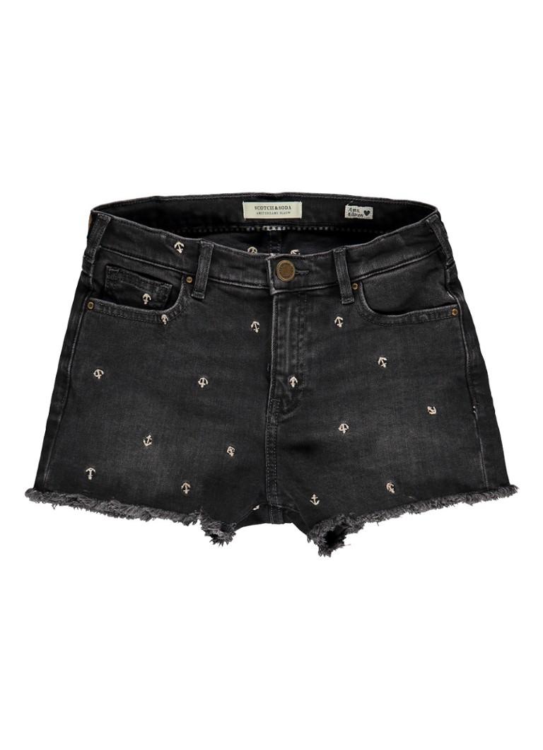 Scotch R'Belle High rise denim shorts met geborduurd dessin