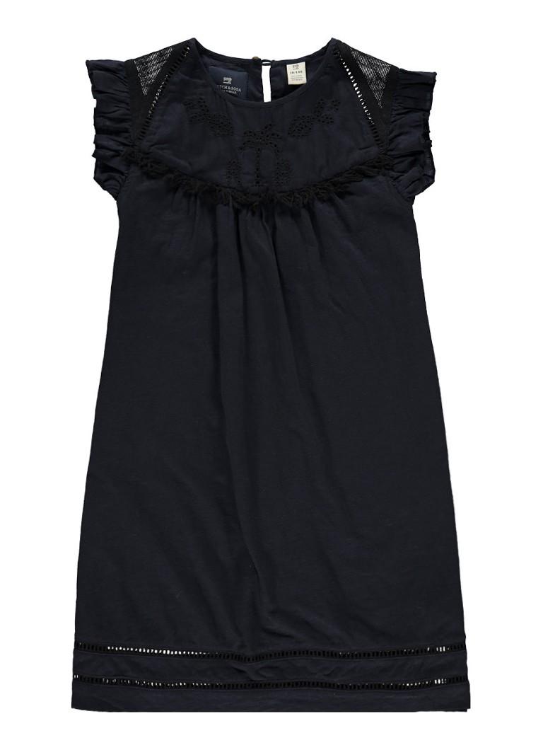 Scotch R'Belle A-lijn jurk volantmouw en opengewerkt detail