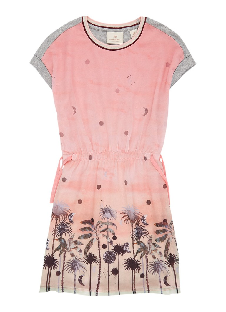 Scotch R'Belle A-lijn jurk met contraststof en print