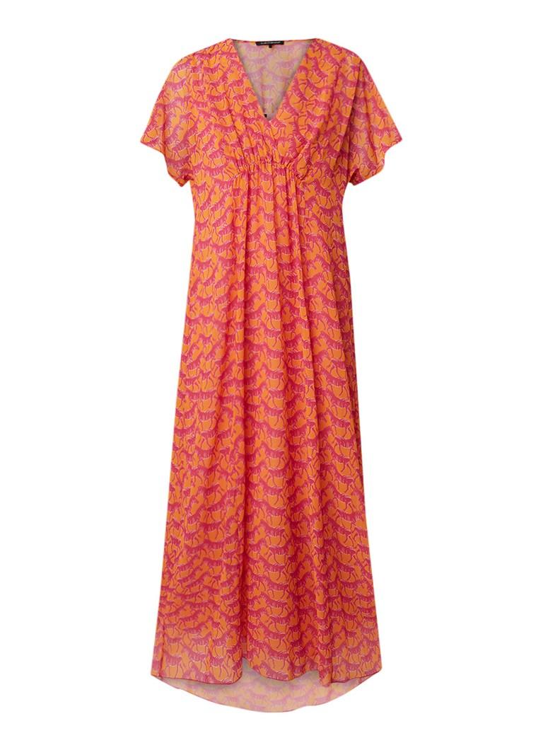 Luisa Cerano Zebra maxi-jurk met dessin en volantmouw oranje