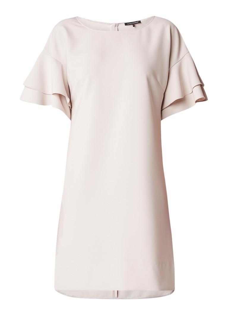 Luisa Cerano Midi-jurk met volant en split beige