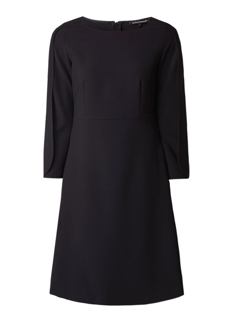 Luisa Cerano A-lijn jurk met opengewerkte mouw zwart