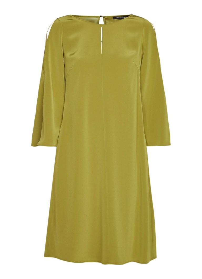 Luisa Cerano Cold shoulder jurk met keyhole mosgroen