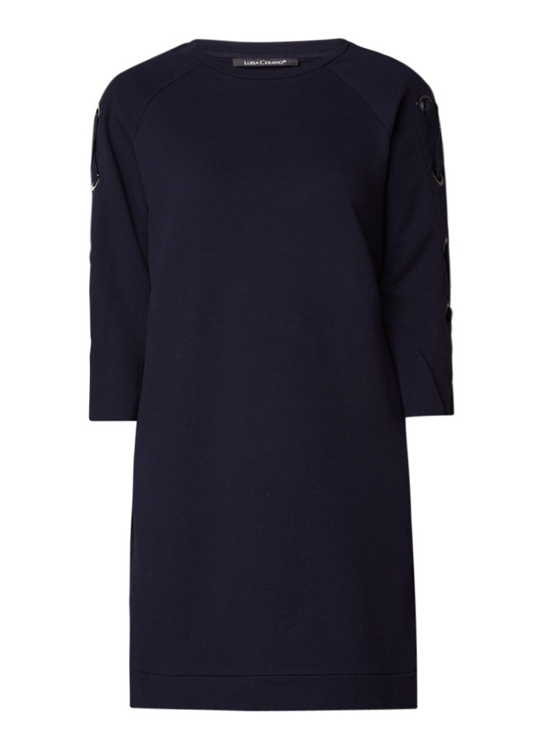 Luisa Cerano Sweaterjurk met rijgdetail op mouw donkerblauw