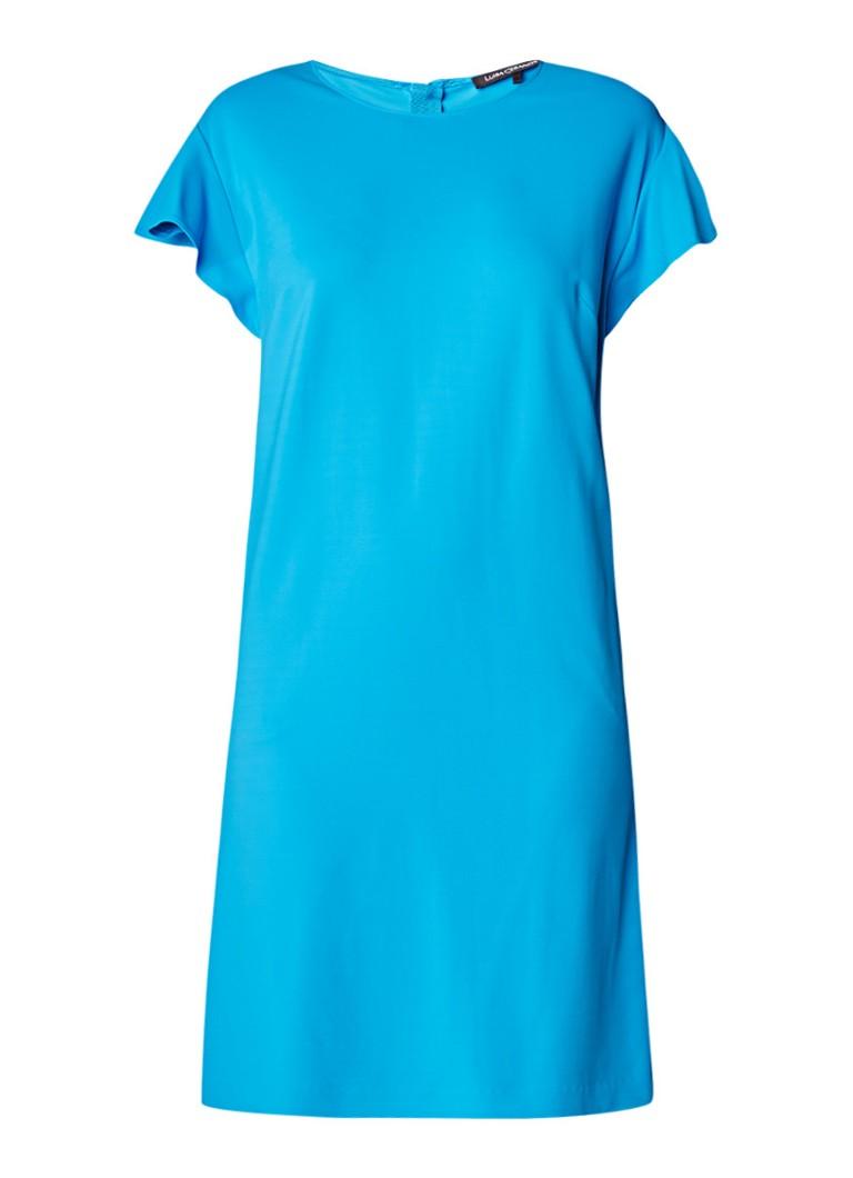Luisa Cerano Midi-jurk met volantmouw aquablauw