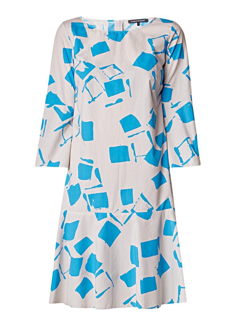 Luisa Cerano Midi-jurk met grafisch dessin en klokmouw lichtgrijs