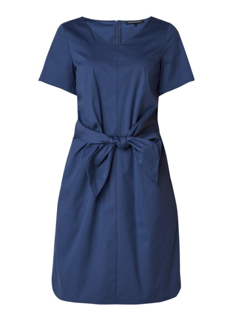 Luisa Cerano Midi-jurk in katoenblend met strikceintuur donkerblauw