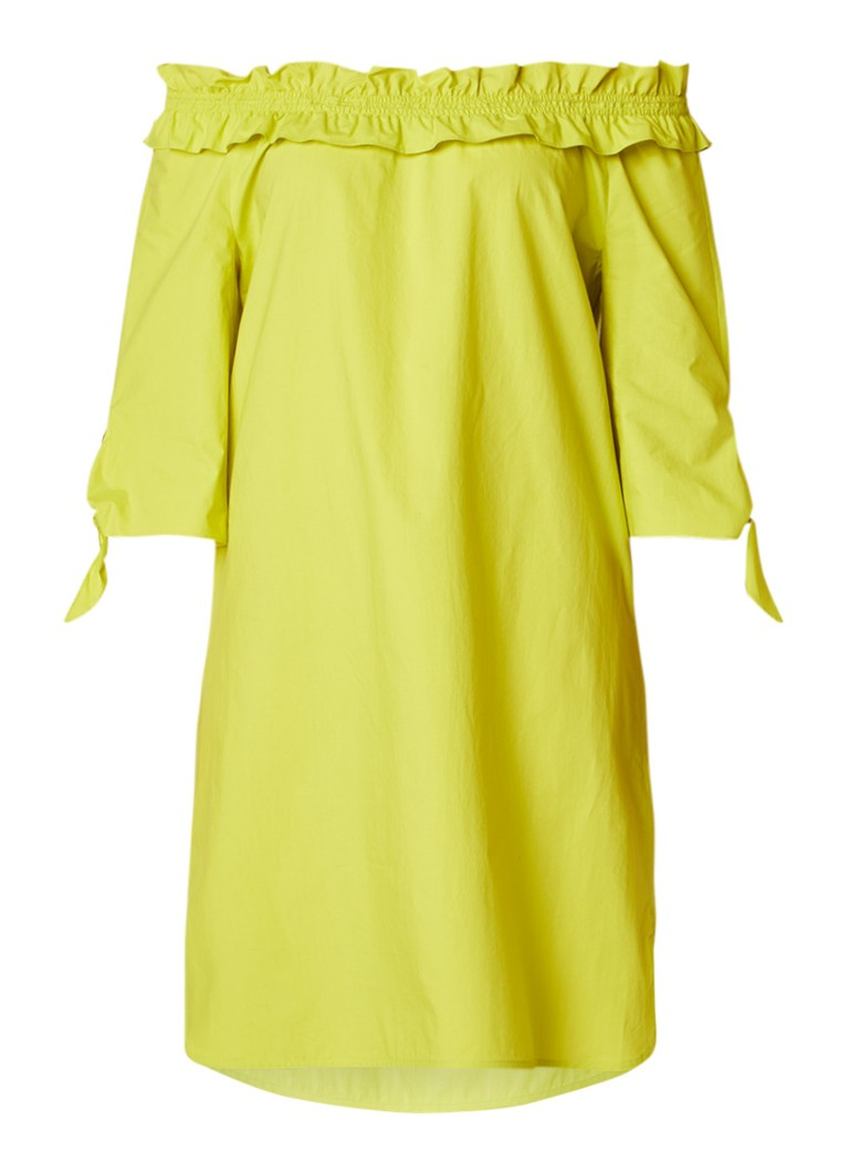Luisa Cerano Midi-jurk van katoen met gesmockte halslijn lime