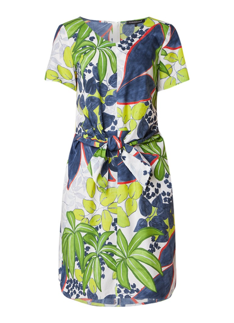 Luisa Cerano Midi-jurk met bladdessin en strikceintuur groen