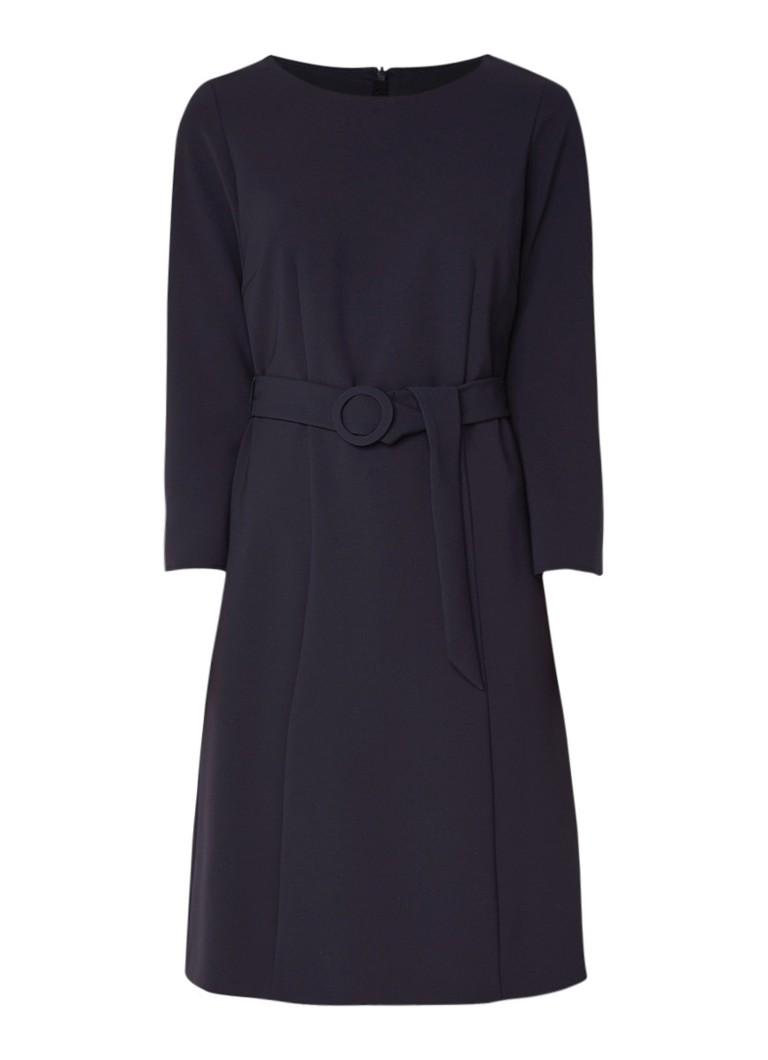 Luisa Cerano A-lijn jurk met ceintuur en steekzak donkerblauw
