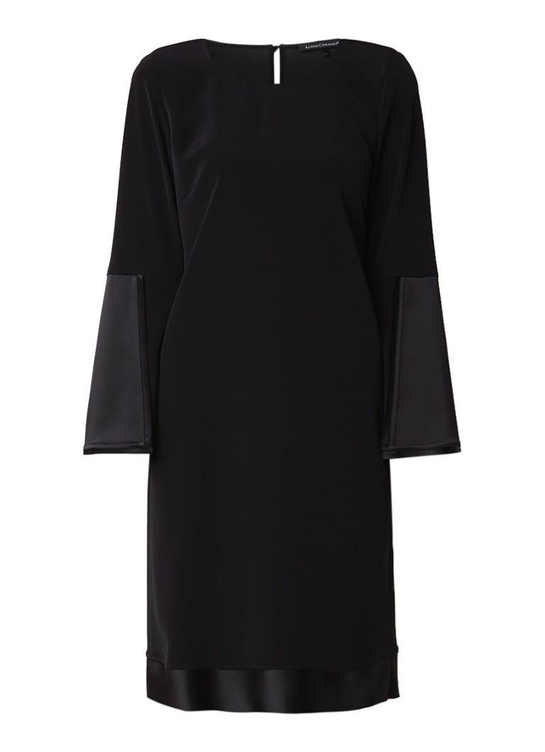 Luisa Cerano Midi-jurk met trompetmouw van satijn zwart