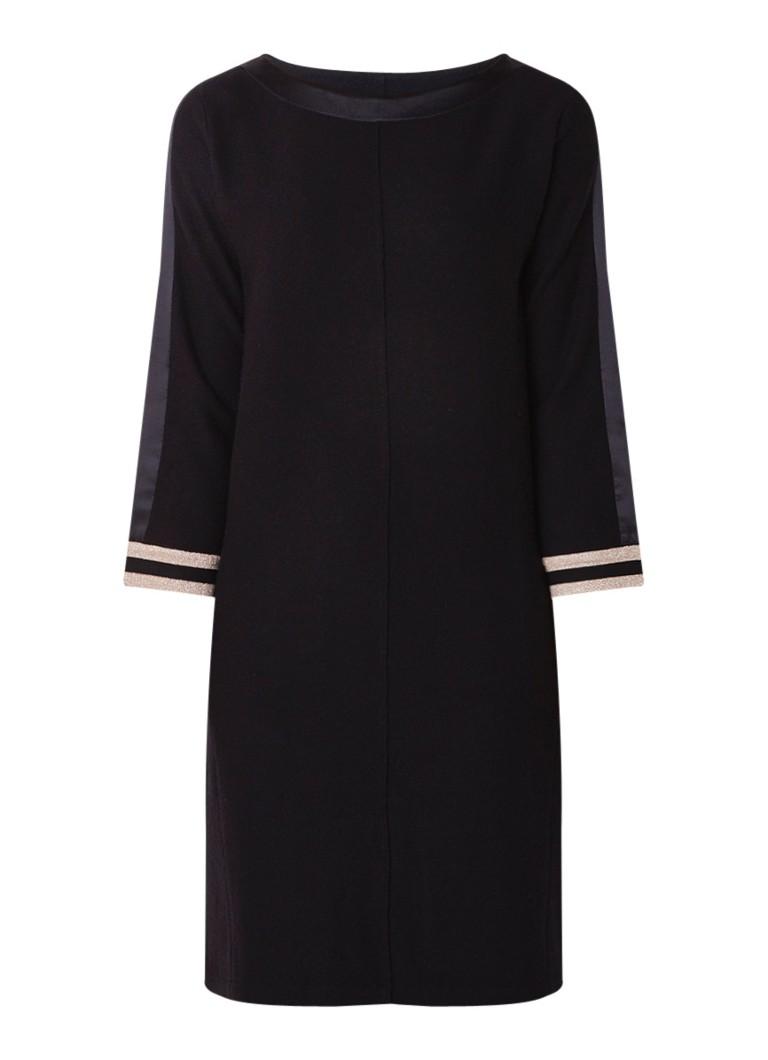 Luisa Cerano Midi-jurk van wol met contrastboord en lurex zwart