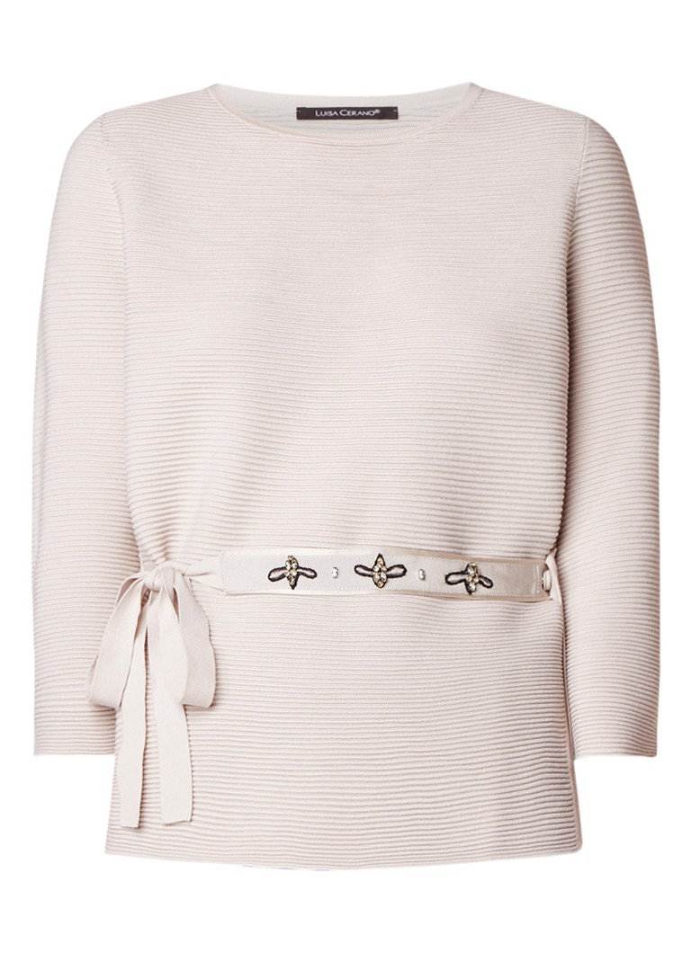 Luisa Cerano Ribgebreide pullover met gedecoreerde ceintuur
