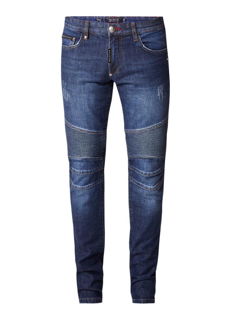 Philipp Plein Biker Some Nights straight fit jeans met biker look