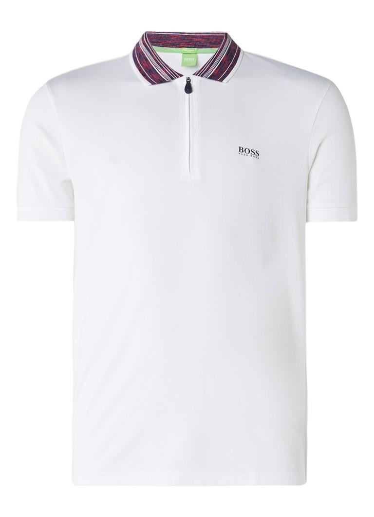 Polo s en T shirts HUGO BOSS Philix polo met ritssluiting Wit