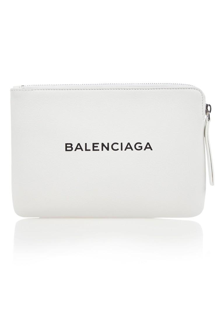 Balenciaga Clutch van kalfsleer met logoprint