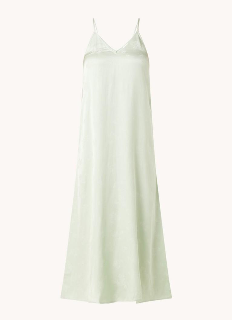 Gitaka midi jurk van satijn met jacquard dessin