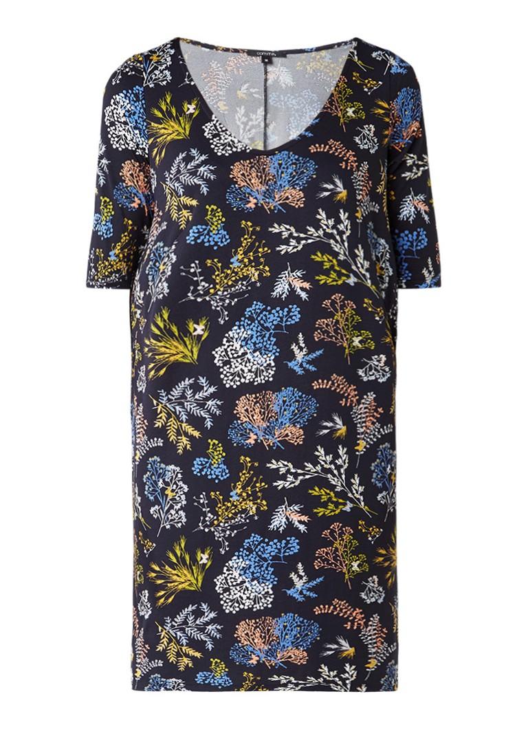 Comma T-shirt jurk met bloemendessin donkerblauw