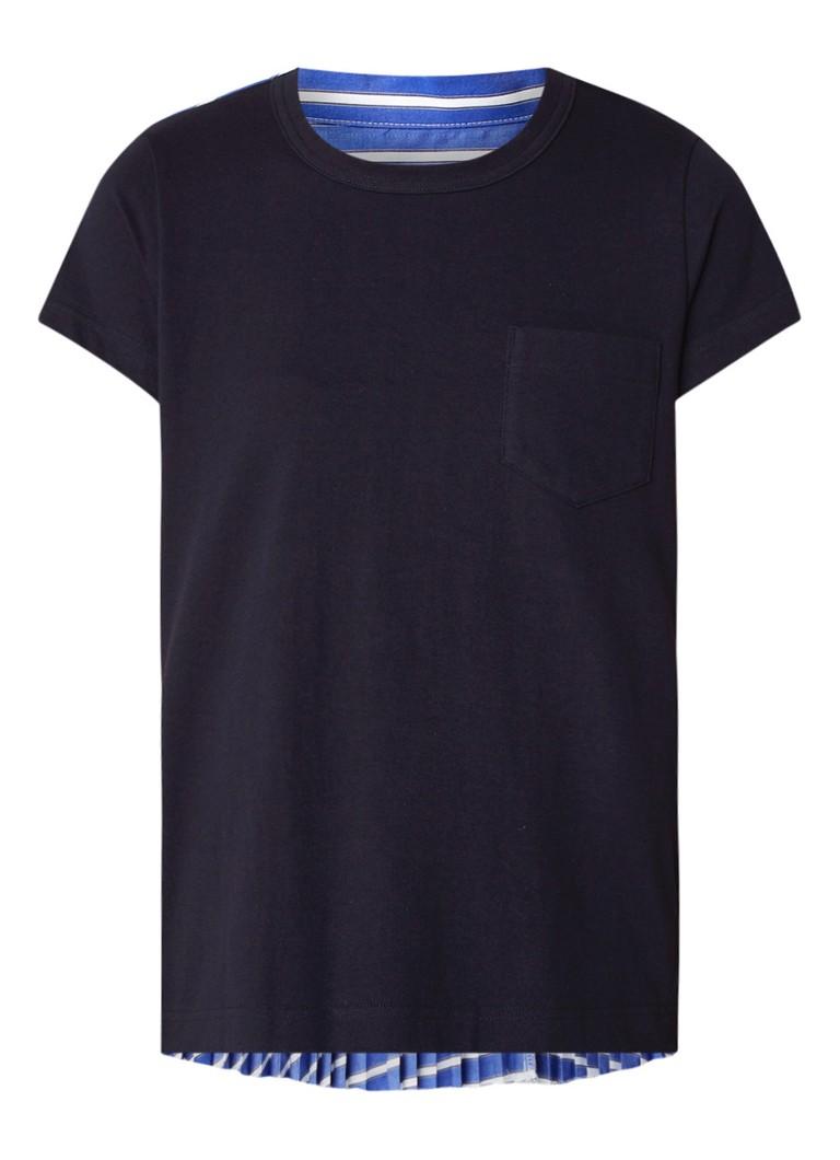 Sacai T-shirt met plissé contrast
