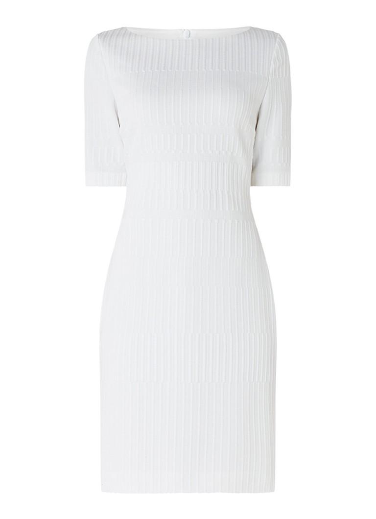 Hugo Boss Hadea jurk met structuur en ritssluiting gebroken wit