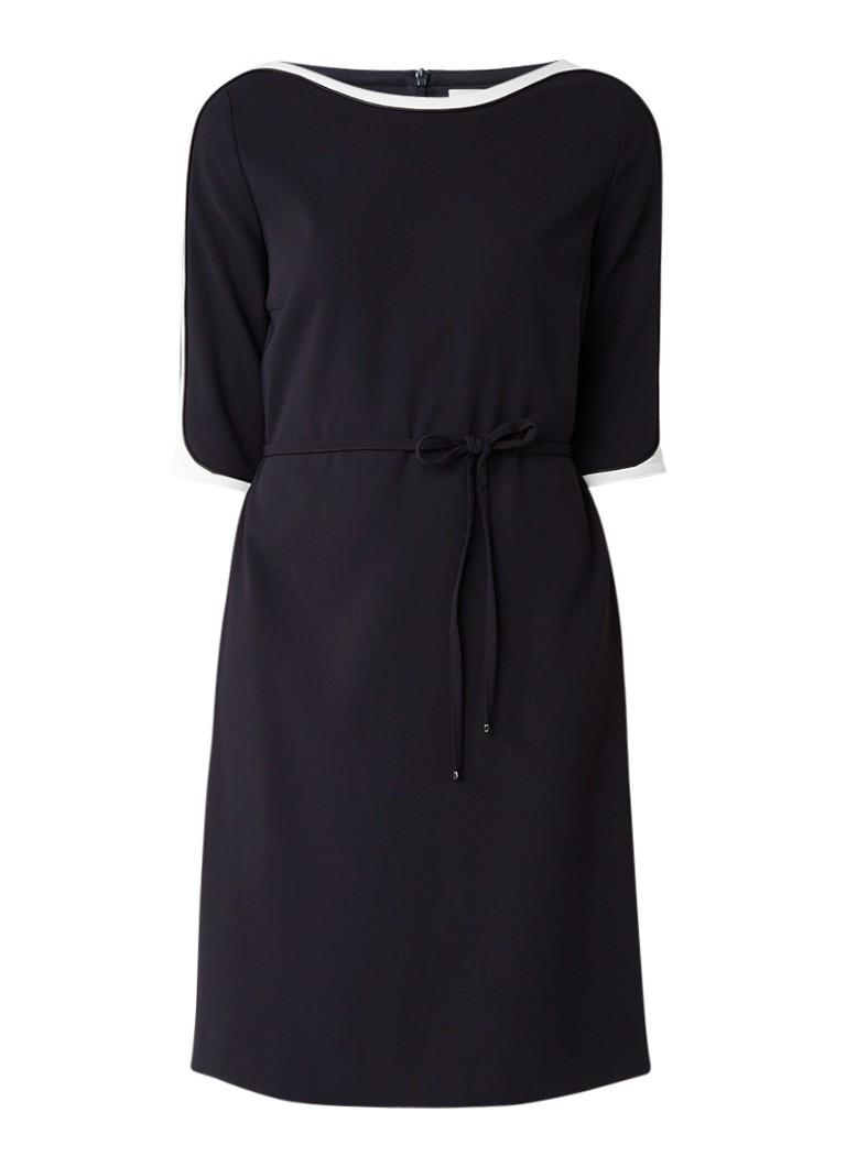 HUGO BOSS Hariva midi-jurk met contrasterende bies en strikceintuur