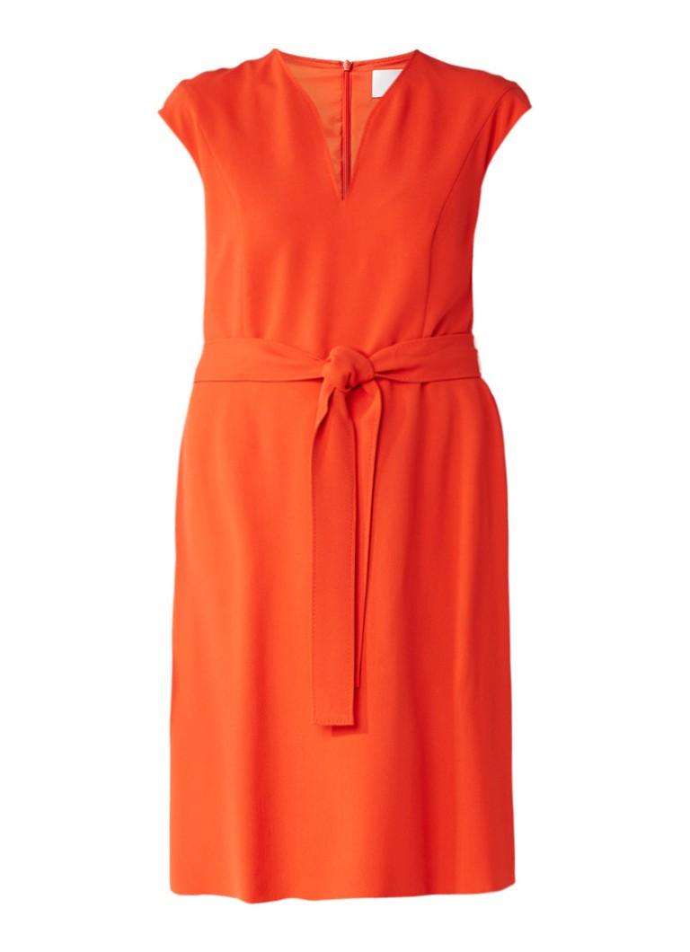 Hugo Boss Doliana A-lijn jurk met strikceintuur oranje