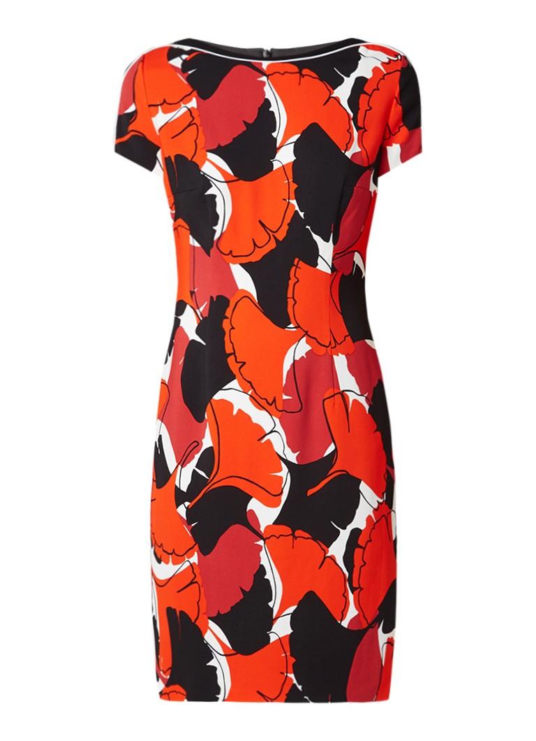 Hugo Boss Dakuja jurk met grafisch dessin oranjerood