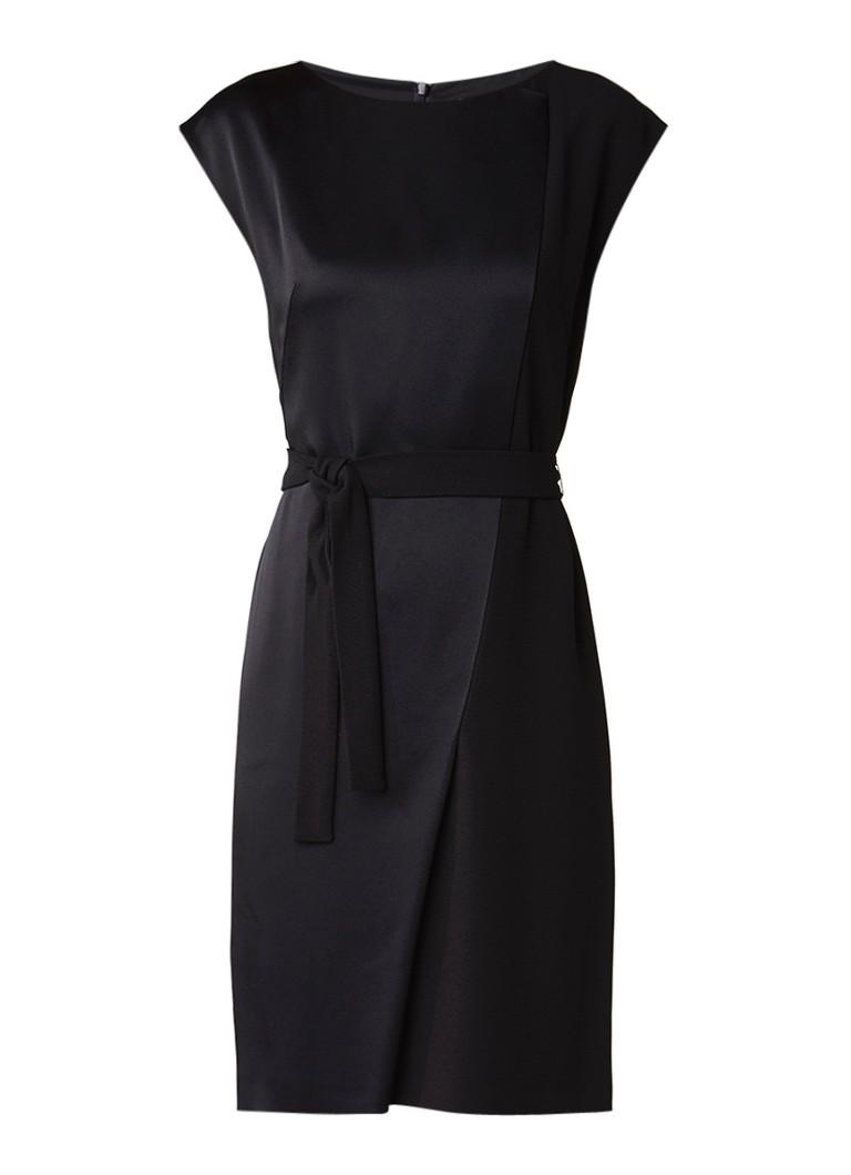 Hugo Boss Drapena midi-jurk met contrasterend materiaal en strikceintuur zwart
