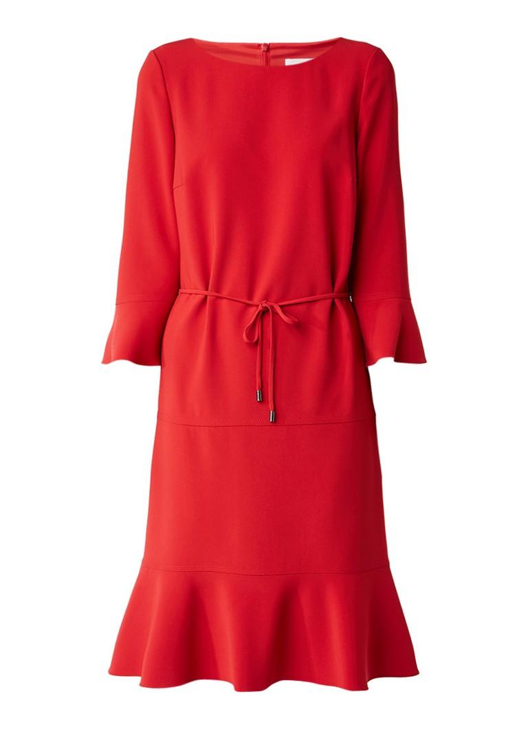 Hugo Boss Henryke A-lijn jurk met klokkende driekwart mouw rood