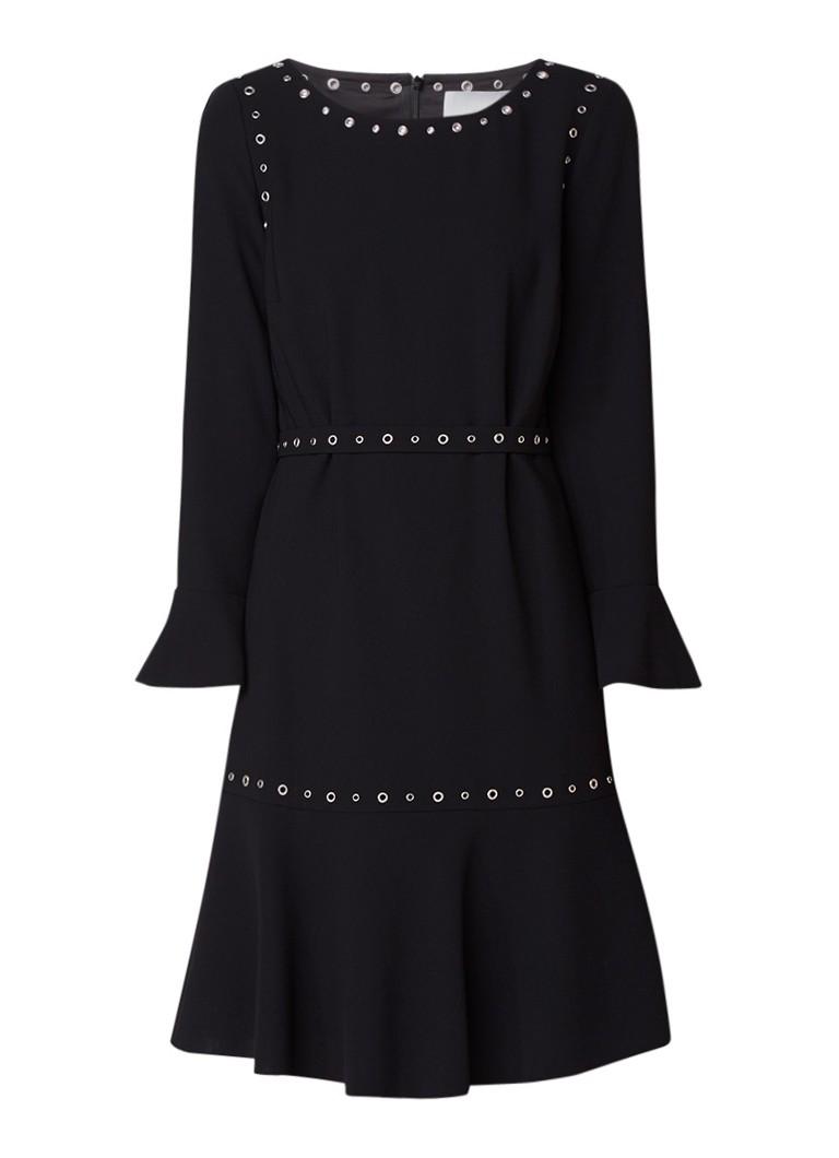 Hugo Boss Henryke A-lijn jurk met eyelets en ceintuur zwart