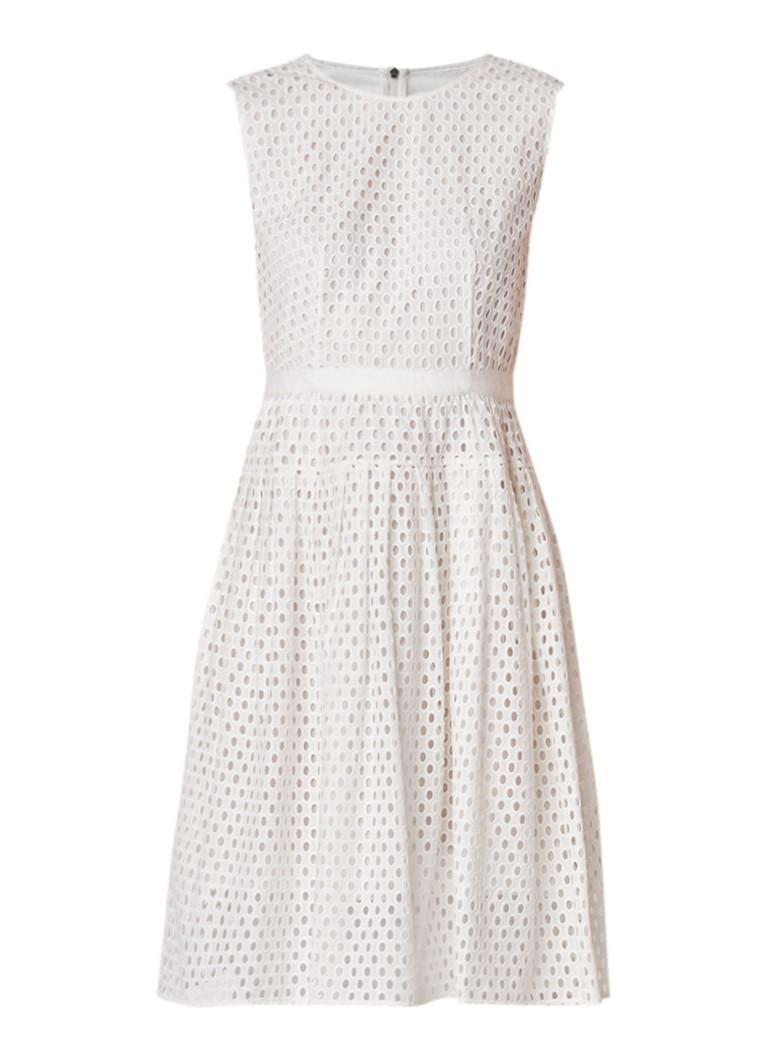 Hugo Boss Dafalia mouwloze midi-jurk met broderie wit