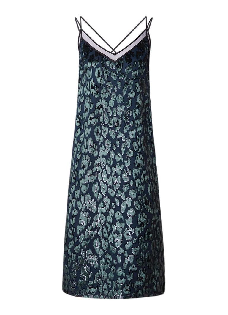 Hugo Boss Dudania jurk in zijdeblend met borduursels donkergroen