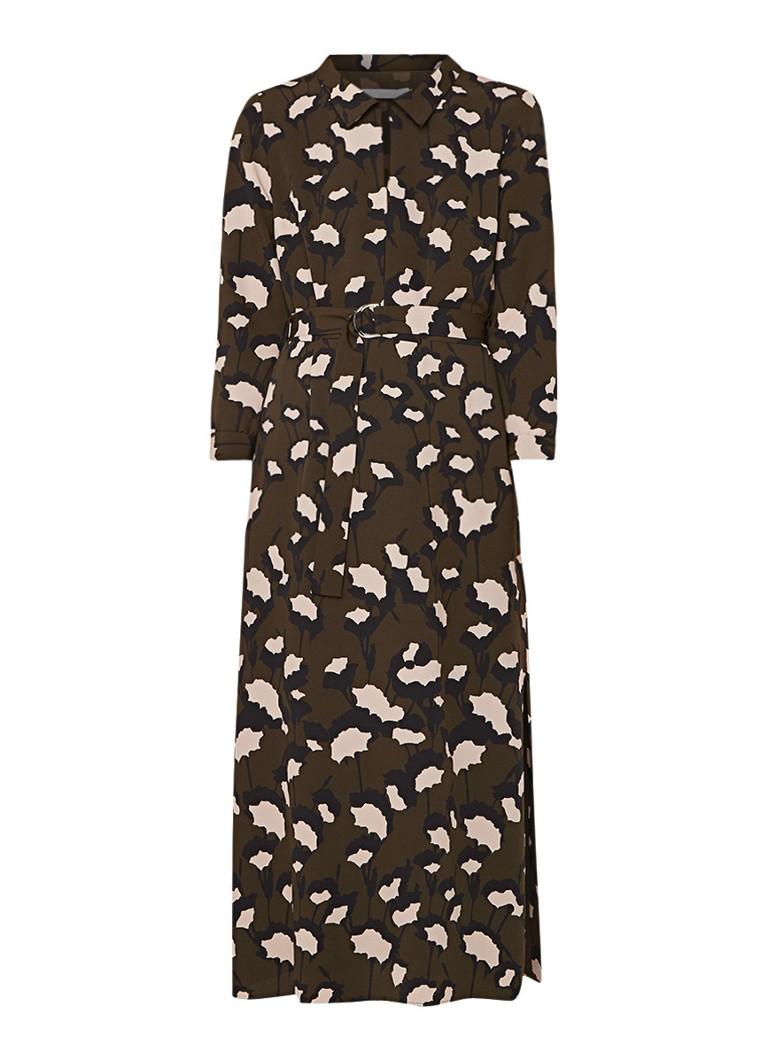 Hugo Boss Higena maxi-jurk van crêpe met ceintuur en dessin legergroen