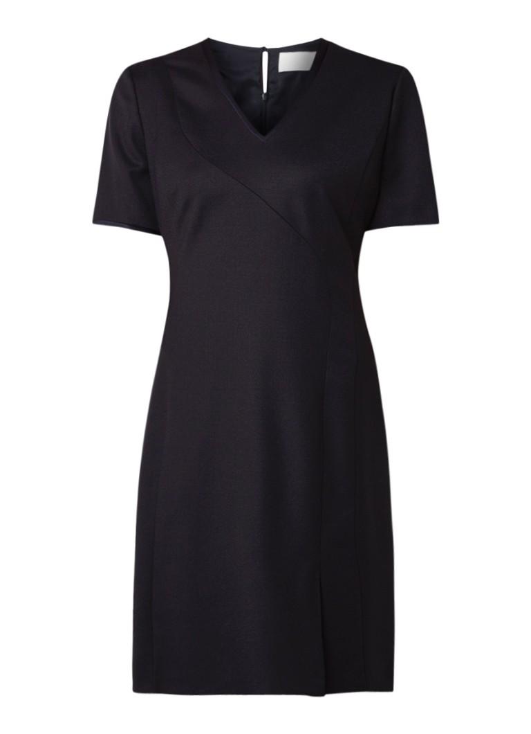 Hugo Boss Dasenna midi-jurk van wol met satijnen bies donkerblauw