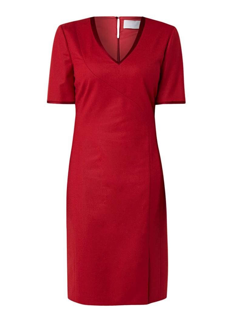 Hugo Boss Dasenna midi-jurk van wol met V-hals donkerrood
