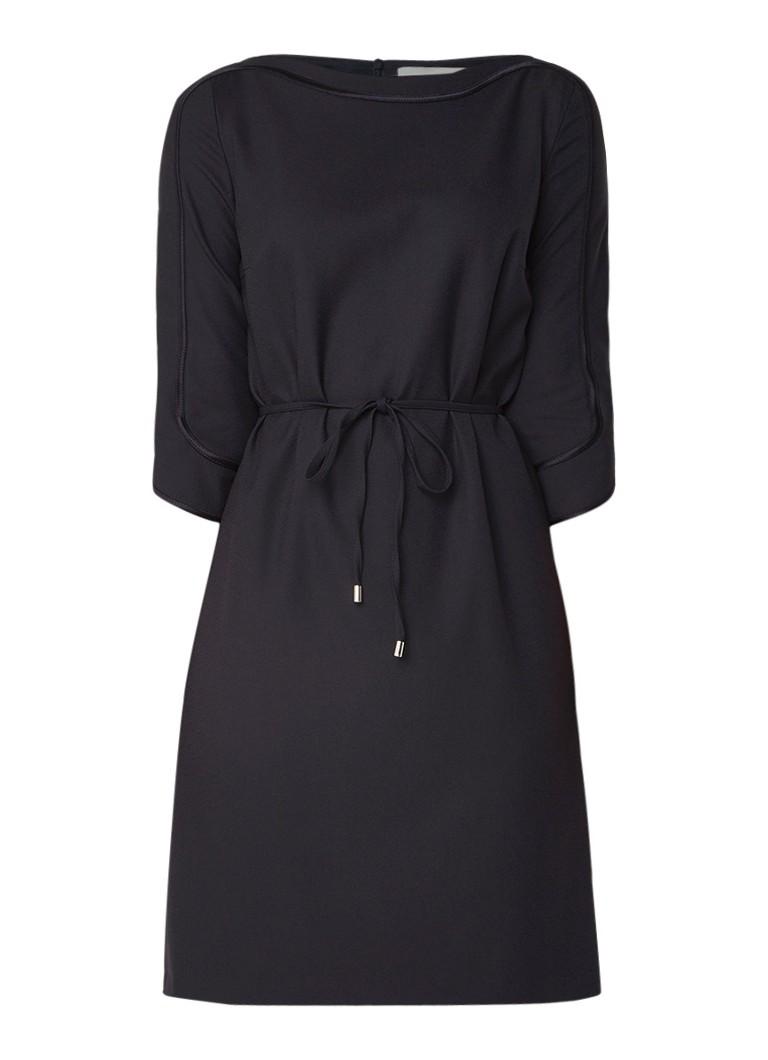 Hugo Boss Harivana midi-jurk met ceintuur en siernaden donkerblauw