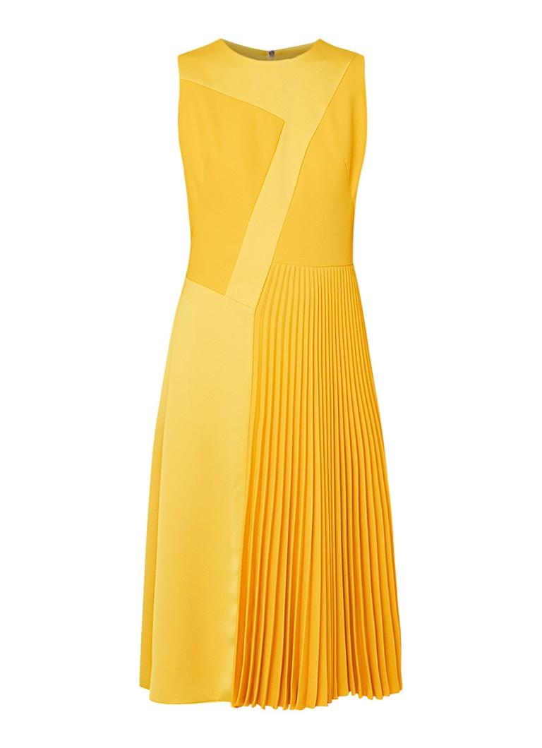 Hugo Boss Dionia mouwloze midi-jurk met siernaden en plissé geel