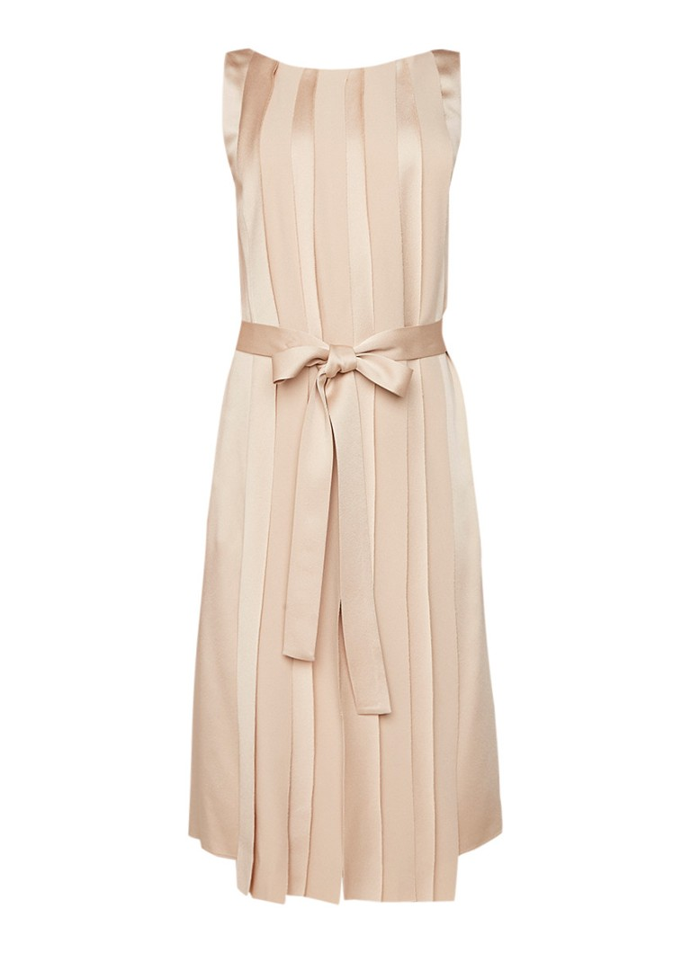Hugo Boss Detapa midi-jurk met plissé en strikcenituur beige
