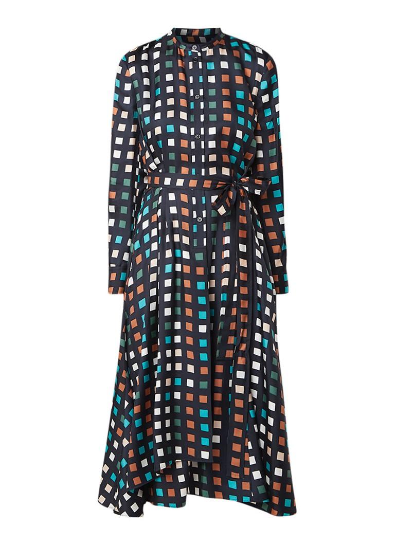 Hugo Boss Desmona blousejurk van zijde met ruitdessin donkerblauw