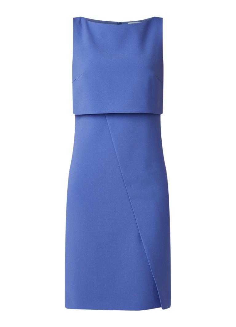 Hugo Boss Dantia kokerjurk met overlay blauw