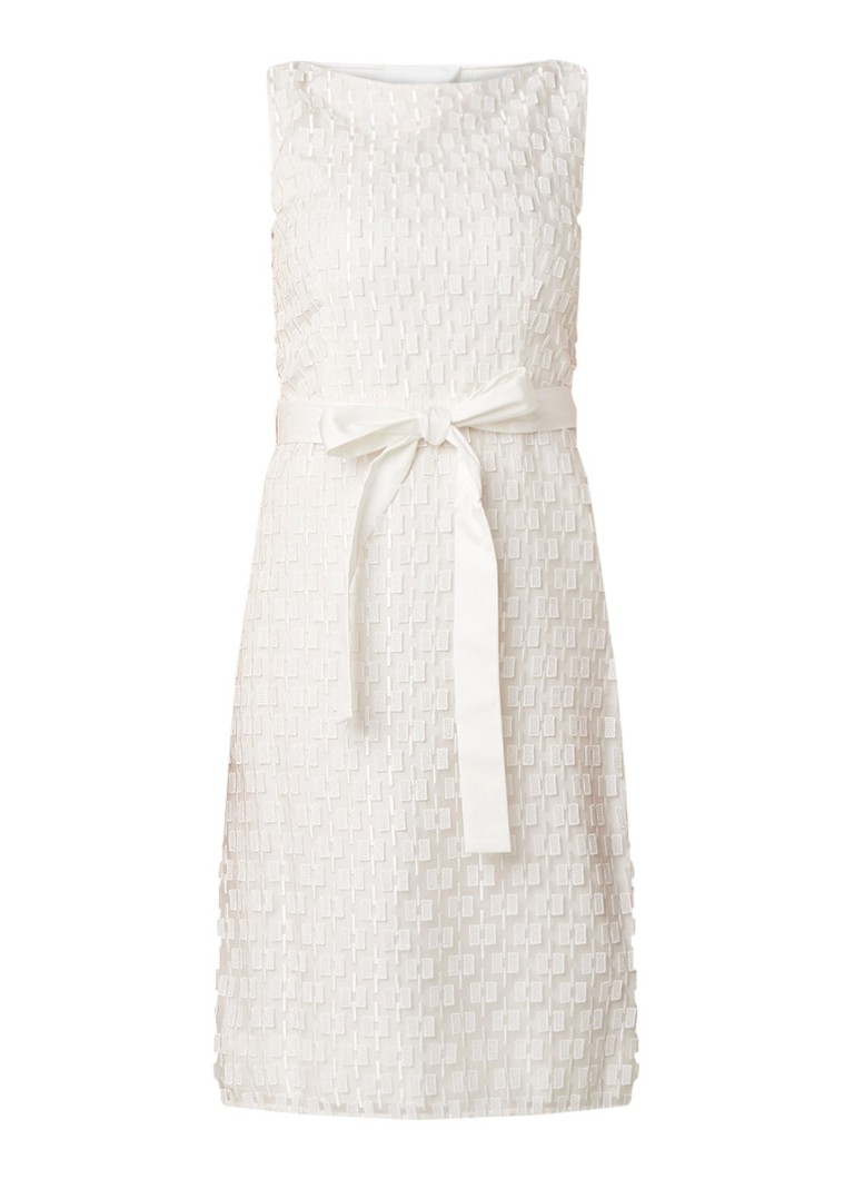 Hugo Boss Delinina midi-jurk met borduring gebroken wit