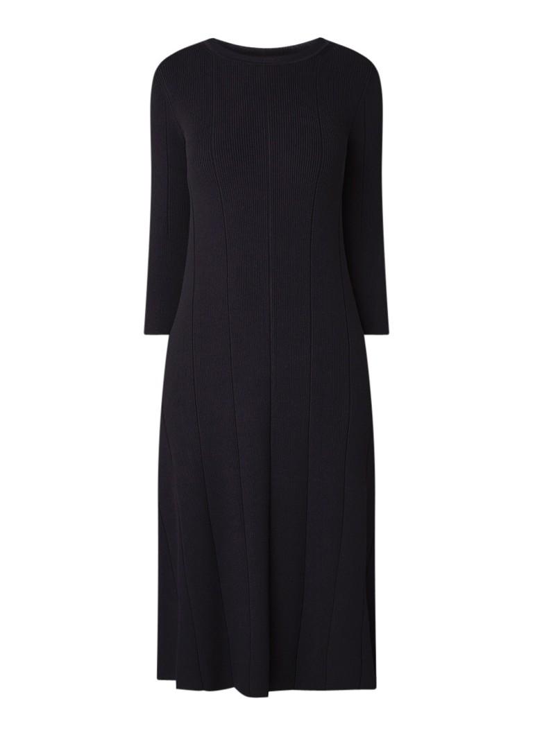 Hugo Boss Fenidi midi A-lijn jurk van ribjersey donkerblauw