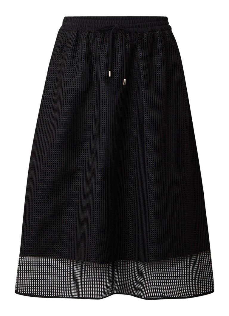 Hugo Boss Murina midi A-lijn rok van mesh zwart