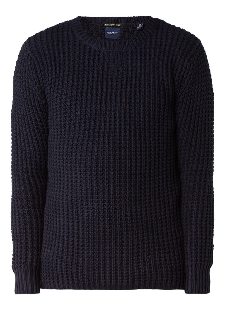 Truien en vesten ScotchenSoda Grofgebreide trui van katoen Donkerblauw