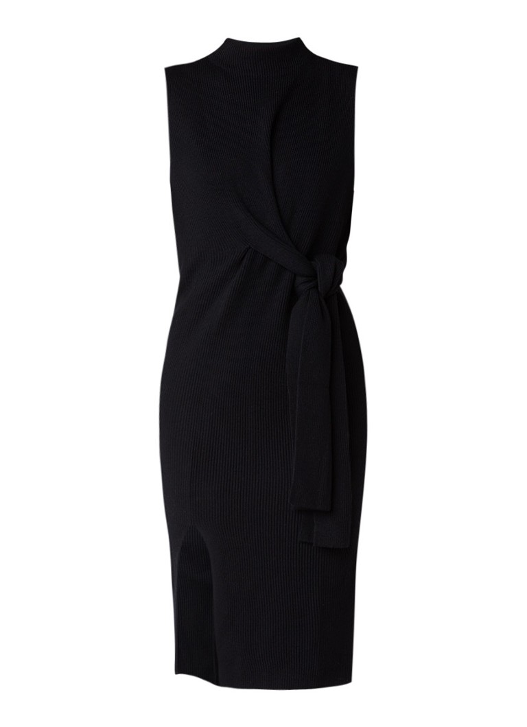MO&Co. Ribgebreide midi-jurk van wol met strikdetail zwart
