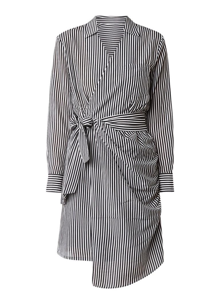 MO&Co. Gestreepte blousejurk met overslag zwart