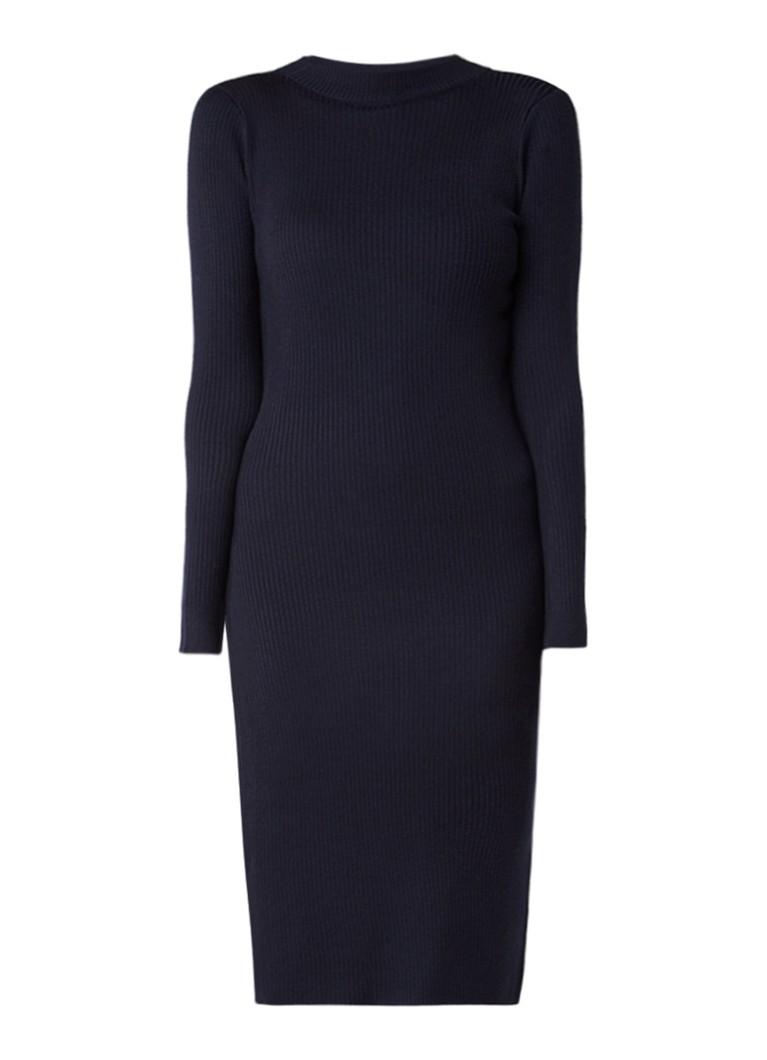 MO&Co. Ribgebreide midi-jurk met underlay van kant donkerblauw