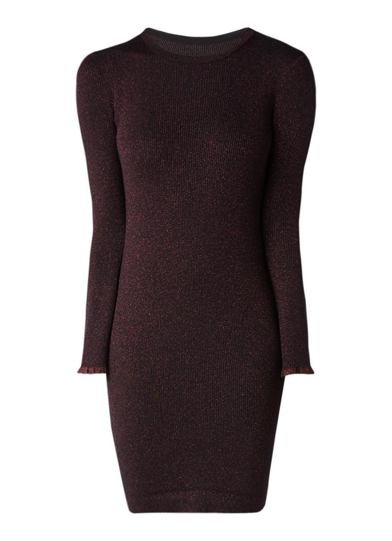 MO&Co. Ribgebreide jurk van wol met glansdraad donkerrood
