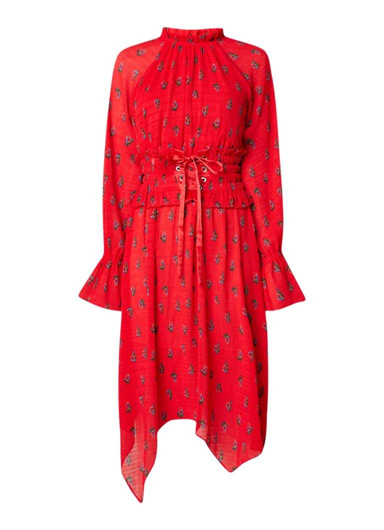 MO&Co. A-lijn jurk van crêpe met bloemendessin en korsetdetail vuurrood